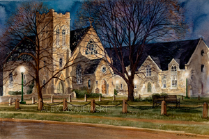 Trinity by Night is the newest painting of Trinity Church in Galt, Cambridge Ontario by Alex Krajewski