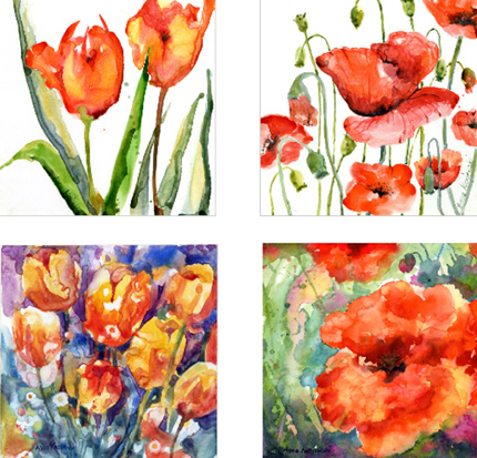 Tulips and Poppies prints from paintings by Anna Krajewski