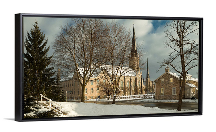 Knox Church Panorama by Alex Krajewski printed on Canvas framed in a floater frame