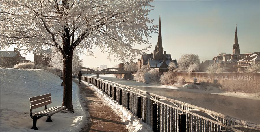 Walkway along Grand River in Cambridge Ont art photography by Alex Krajewski