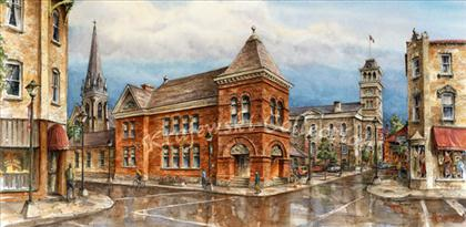 Cambridge Farmers Market in Galt Ontario watercolour by Alex Krajewski