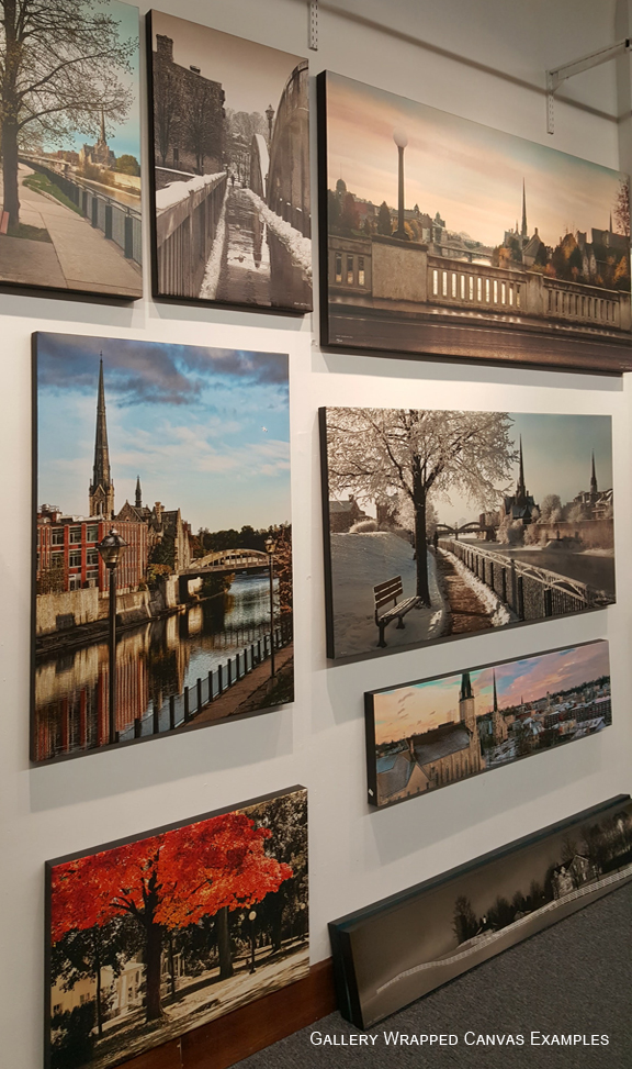Examples of gallery wrapped canvas on Krajewski Gallery wall Cambridge ON