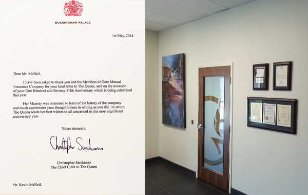 Letter for Gore-Mutual 175th anniversary from the Queen of England framed by Krajewski Gallery