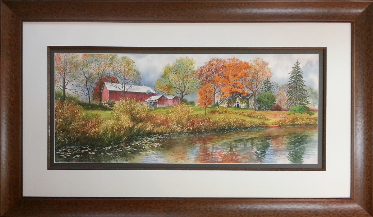 Fall Reflection - commissioned house portrait by Alex Krajewski