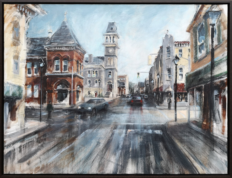 An original acrylic painting by Alex Krajewski depicting Dickson Street Galt Farmers Market and Galt City Hall commissioned by a private collector for a housewarming gift
