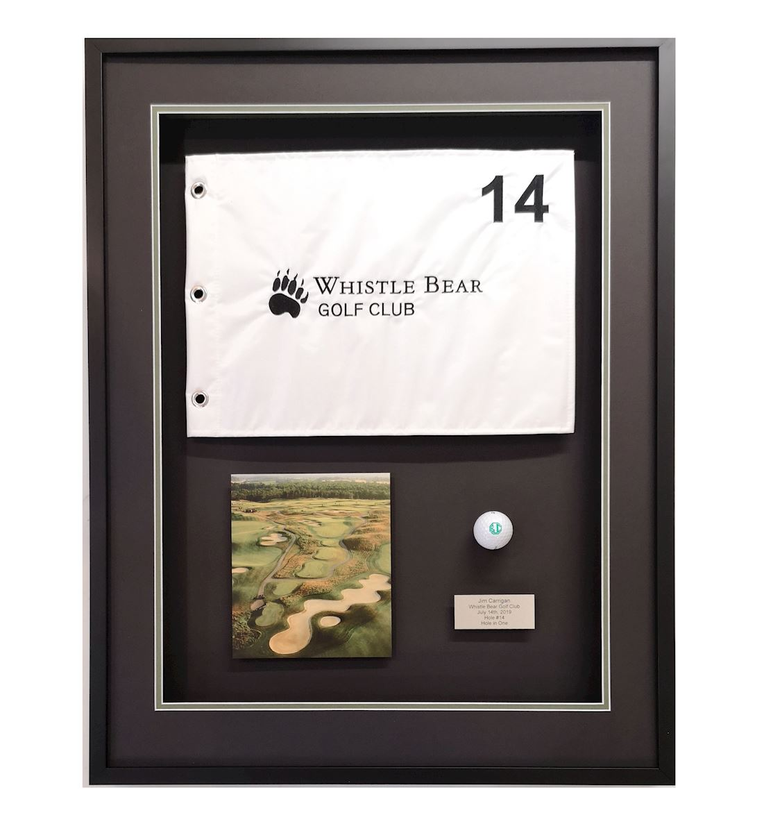 Custom framed Hole in One gold mementoes