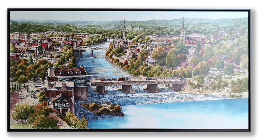 "Cambridge Panorama 30"" x 60"" framed in black narrow floater frame"
