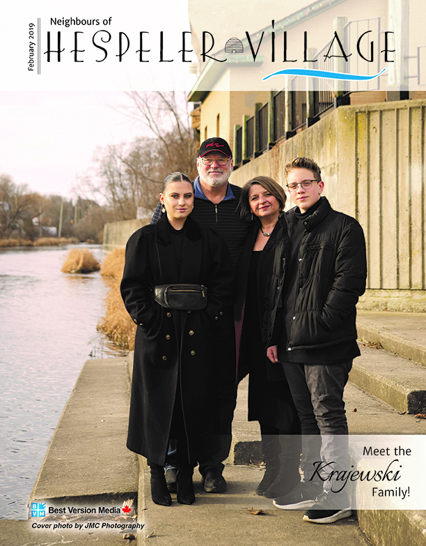 Neighbours of Hespeler Village cover featuring Cambridge Ontario artists and Krajewski Gallery Alex and Anna Krajewski and family