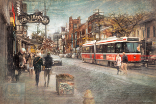 View of Queen Street West and Claremont woih a street car -Toronto, Ontario