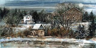 Winter in Churchill Park - Original SOLD - Krajewski