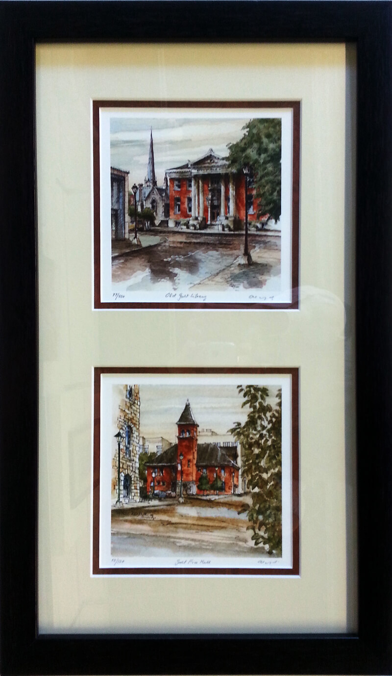Example of matted and framed Ontario Minis by Alex Krajewski