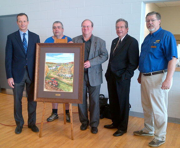 Donation of the Plowing Match painting by ALex Krajewski to the the North Dumfries Community Centre