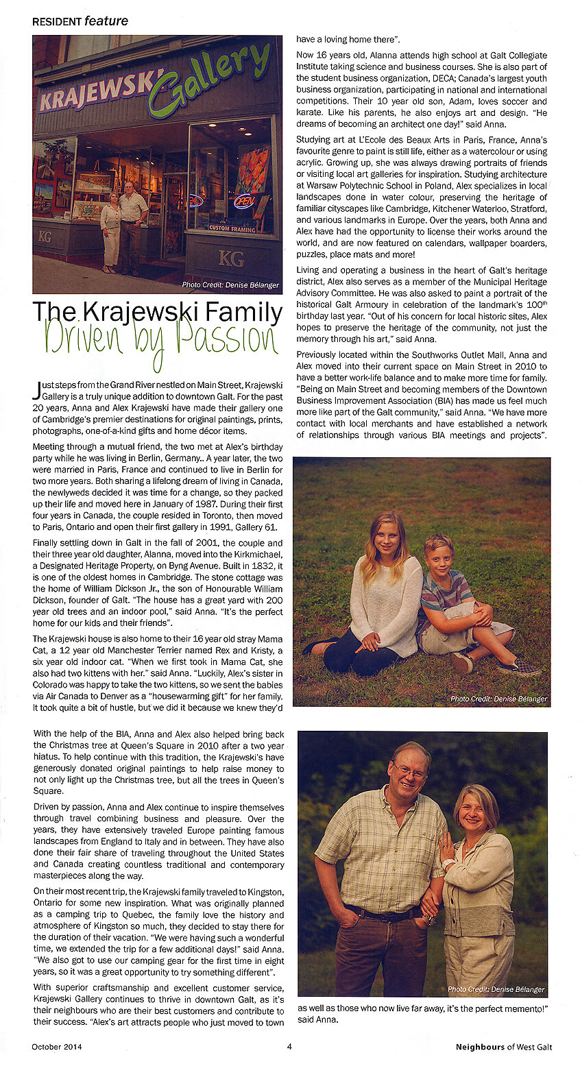 Neighbours of West Galt cover article featuring Alex & Anna Krajewski