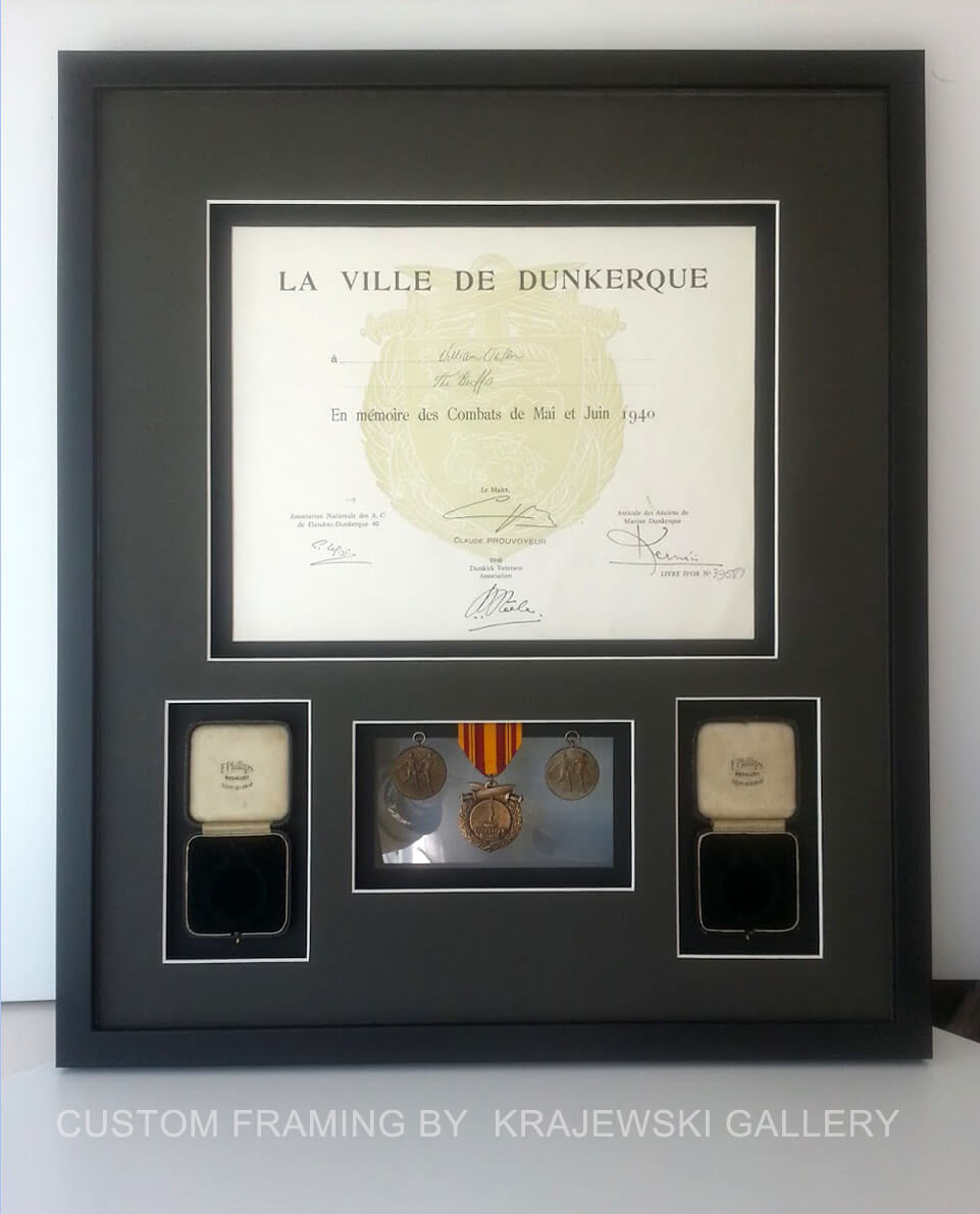 Custom Picture Framing by Krajewski Gallery: World War 2 memorabilia custom framed in multi opening mats