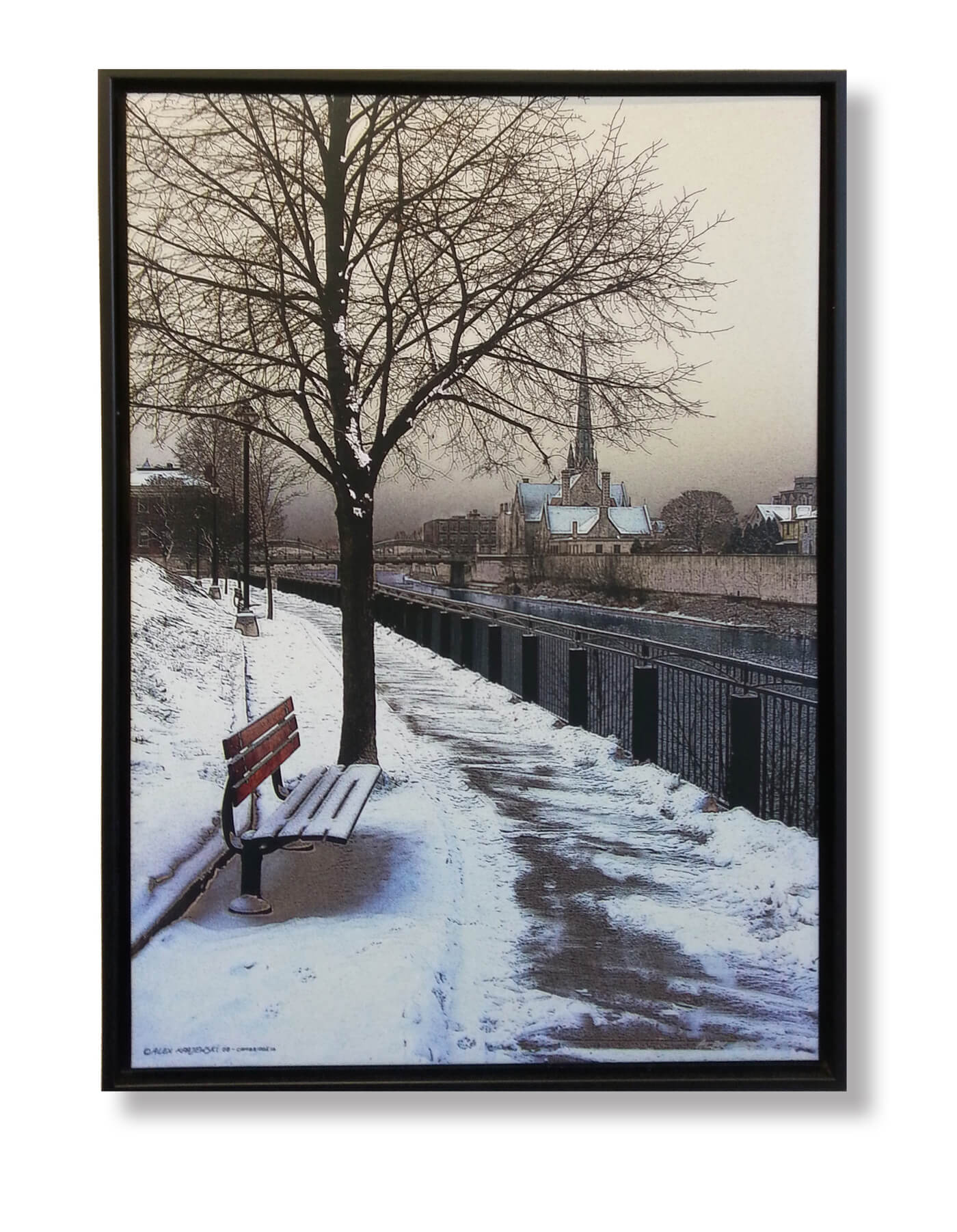 Winter Bench photograph on canvas by Cambridge ON artist Alex Krajewski framed in black floater frame